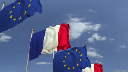 foreign national : Flags of France and the European Union at international meeting, loopable 3D animation