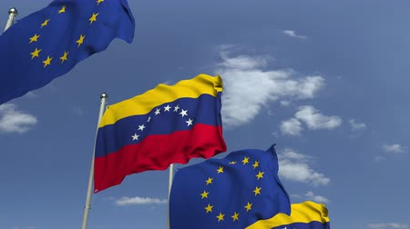 şaft : Waving flags of Venezuela and the EU on sky background, loopable 3D animation