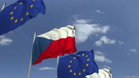 membro : Waving flags of the Czech Republic and the European Union EU, loopable 3D animation