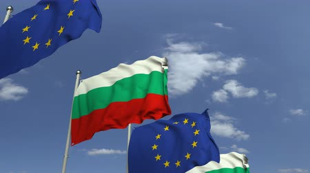 búlgaro : Row of waving flags of Bulgaria and the European Union EU, loopable 3D animation