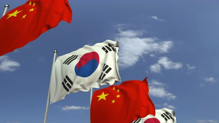 şaft : Many flags of South Korea and China, loopable 3D animation Stok Video