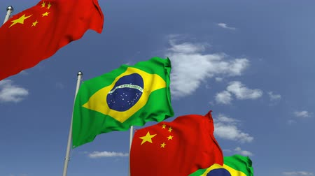 brazil : Waving flags of Brazil and China on sky background, loopable 3D animation