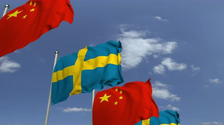 İsveççe : Many flags of Sweden and China, loopable 3D animation