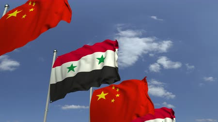 eixo : Flags of Syria and China against blue sky, loopable 3D animation