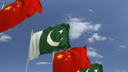 paquistão : Waving flags of Pakistan and China, loopable 3D animation Stock Footage