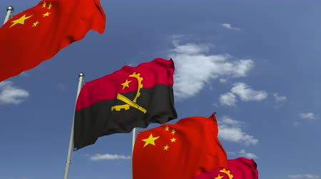 깃대 : Waving flags of Angola and China, loopable 3D animation