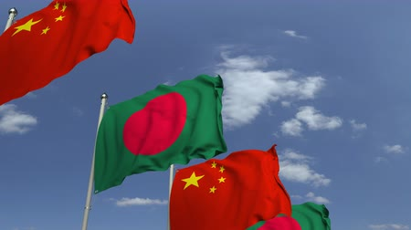 mastro de bandeira : Flags of Bangladesh and China at international meeting, loopable 3D animation