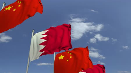 샤프트 : Waving flags of Bahrain and China on sky background, loopable 3D animation 무비클립