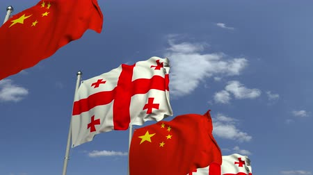 샤프트 : Waving flags of Georgia and China on sky background, loopable 3D animation 무비클립
