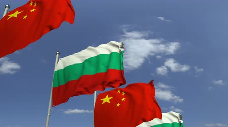 bolgár : Waving flags of Bulgaria and China on sky background, loopable 3D animation