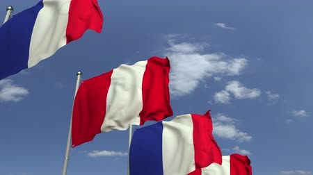 perui : Many flags of Peru and France, loopable 3D animation