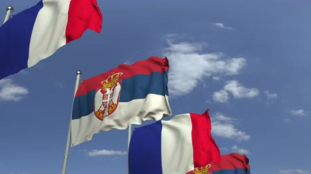 sérvia : Waving flags of Serbia and France on sky background, loopable 3D animation