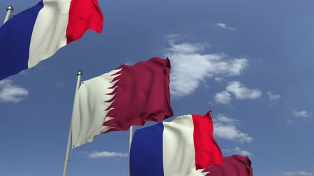 семинар : Row of waving flags of Qatar and France, loopable 3D animation Стоковые видеозаписи