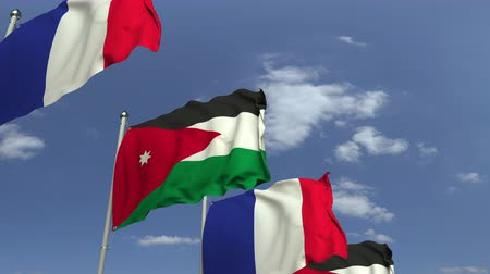 jordanie : Waving flags of Jordan and France on sky background, loopable 3D animation