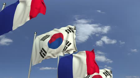 샤프트 : Many flags of South korea and France, loopable 3D animation