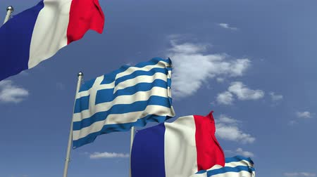 şaft : Many flags of Greece and France, loopable 3D animation Stok Video