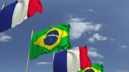 brazil : Waving flags of Brazil and France on sky background, loopable 3D animation Stock mozgókép