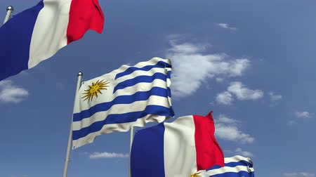 Уругвай : Flags of Uruguay and France against blue sky, loopable 3D animation Стоковые видеозаписи