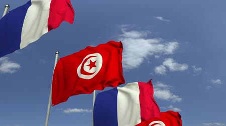 tunisia : Many flags of Tunisia and France, loopable 3D animation