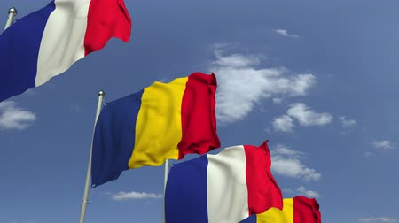 깃대 : Flags of Romania and France at international meeting, loopable 3D animation