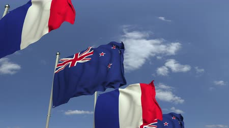 foreign national : Many flags of New Zealand and France, loopable 3D animation