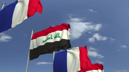 mastro de bandeira : Flags of Iraq and France at international meeting, loopable 3D animation