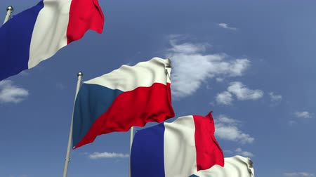 mastro de bandeira : Waving flags of the Czech Republic and France, loopable 3D animation Vídeos