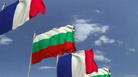 búlgaro : Waving flags of Bulgaria and France, loopable 3D animation Vídeos