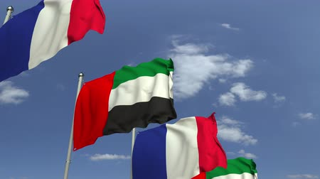 şaft : Flags of the UAE and France at international meeting, loopable 3D animation