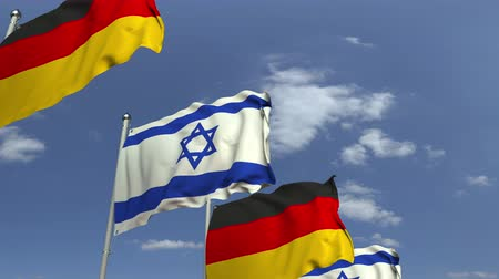 海外で : Flags of Israel and Germany at international meeting, loopable 3D animation