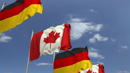 kanadai : Row of waving flags of Canada and Germany, loopable 3D animation