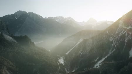 dolomitos : Aerial view of misty mountain valley in the Alps in northeastern Italy