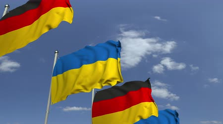 샤프트 : Flags of Ukraine and Germany at international meeting, loopable 3D animation 무비클립