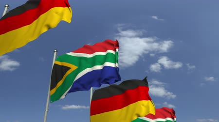 샤프트 : Row of waving flags of South africa and Germany, loopable 3D animation 무비클립