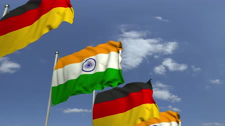 şaft : Row of waving flags of India and Germany, loopable 3D animation Stok Video