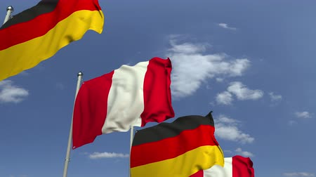 şaft : Many flags of Peru and Germany, loopable 3D animation