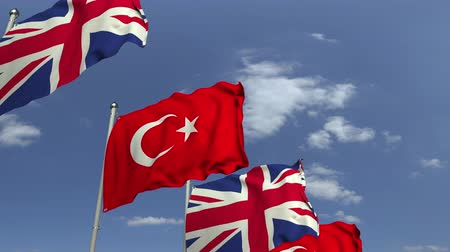 meeting negotiate : Waving flags of Turkey and the United Kingdom, loopable 3D animation