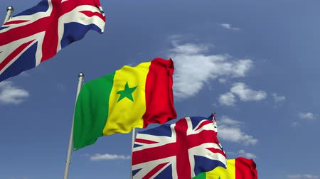 zahraniční : Many flags of Senegal and the United Kingdom, loopable 3D animation