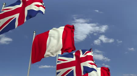 perui : Many flags of Peru and the United Kingdom, loopable 3D animation