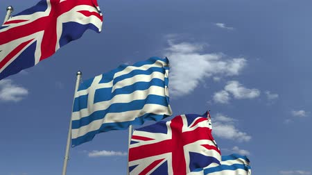 şaft : Many flags of Greece and the United Kingdom, loopable 3D animation