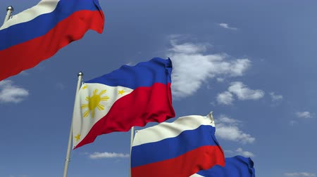 onderhandeling : Waving flags of Philippines and Russia, loopable 3D animation