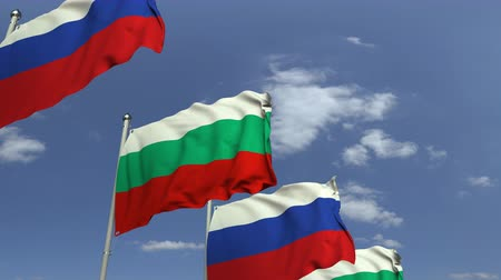 búlgaro : Row of waving flags of Bulgaria and Russia, loopable 3D animation Vídeos