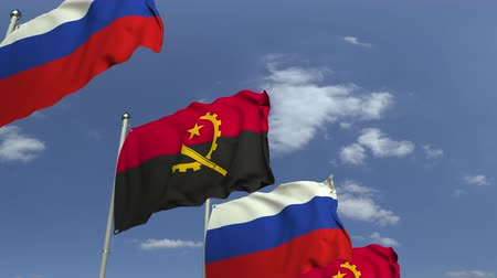 foreign national : Waving flags of Angola and Russia, loopable 3D animation Stock Footage