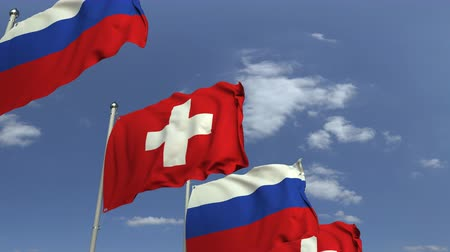 şaft : Many flags of Switzerland and Russia, loopable 3D animation
