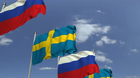 İsveççe : Many flags of Sweden and Russia, loopable 3D animation