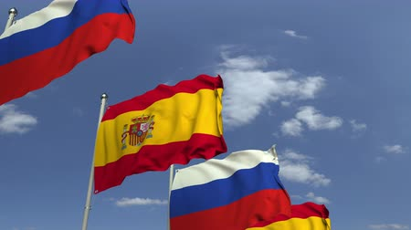 海外で : Many flags of Spain and Russia, loopable 3D animation