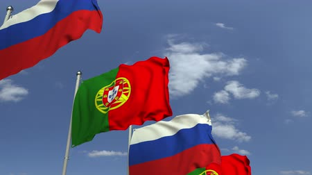 meeting negotiate : Many flags of Portugal and Russia, loopable 3D animation Stock Footage