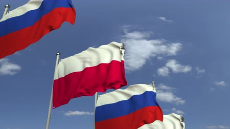 샤프트 : Waving flags of Poland and Russia, loopable 3D animation 무비클립
