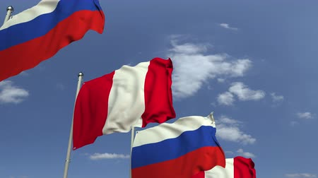 verhandlung : Many flags of Peru and Russia, loopable 3D animation