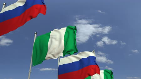 nigeria flag : Flags of Nigeria and Russia against blue sky, loopable 3D animation